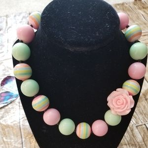 New Bubble Gum Bead Necklace Pink Green